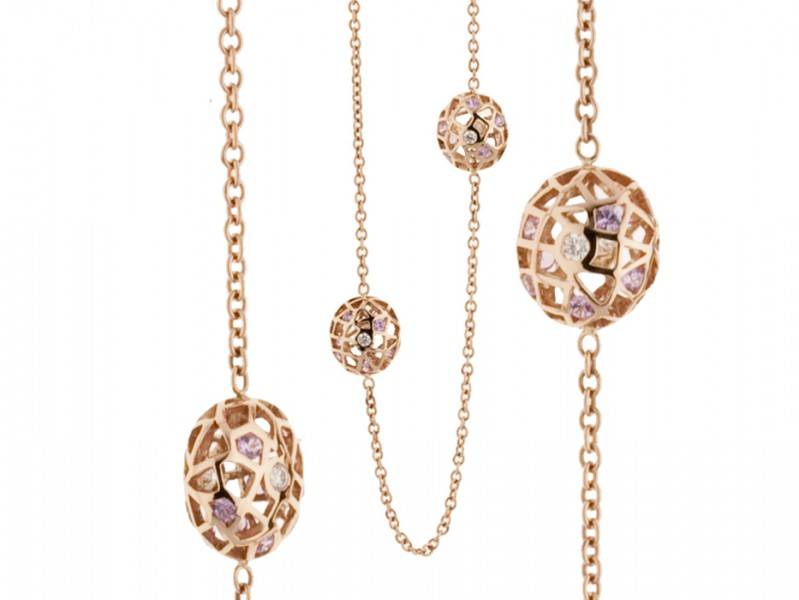 """Aude Lechère From Oursin collection - """"Sautoir"""" mounted on rose gold with pink sapphires"""