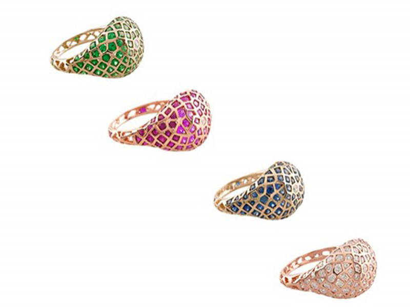 Aude Lechère Oursin collection - Rings mounted on rose or yellow gold (tsavorite, rose sapphire, blue sapphire, diamond)