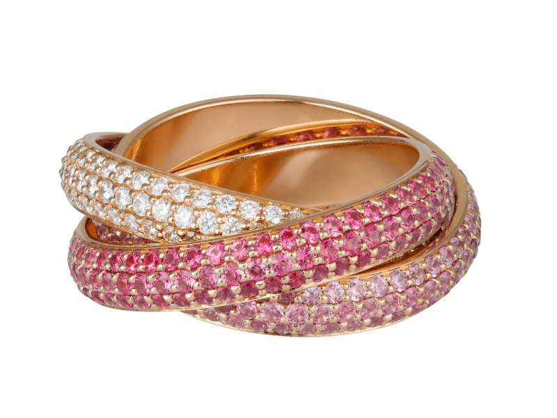 Trinity ring by Cartier, mounted on rose gold with diamonds and sapphires