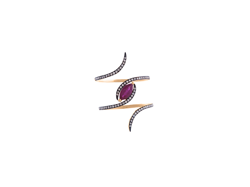 Christina Debs Ruby Marquise ring with brown diamonds and pink gold from the Diamond Tattoo Collection