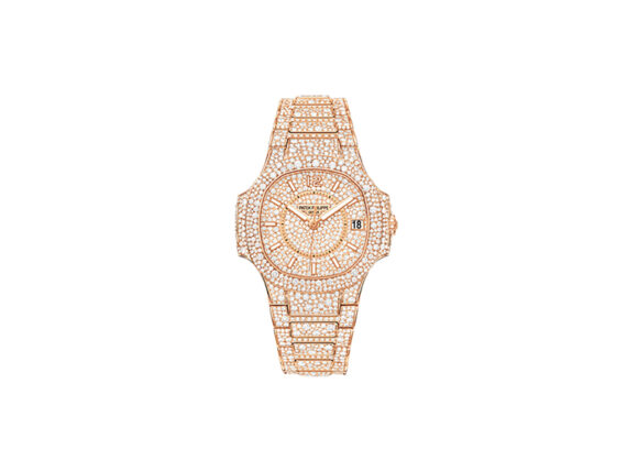 Patek Philippe Nautilus Mounted on rose gold paved with diamonds