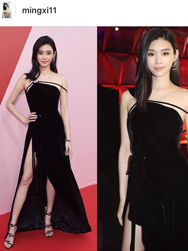De Grisogono Ming Xi wore ALLEGRA bracelet in pink gold and black leather set with white diamonds, an ALLEGRA ring in white gold and black ceramic set with white diamonds.