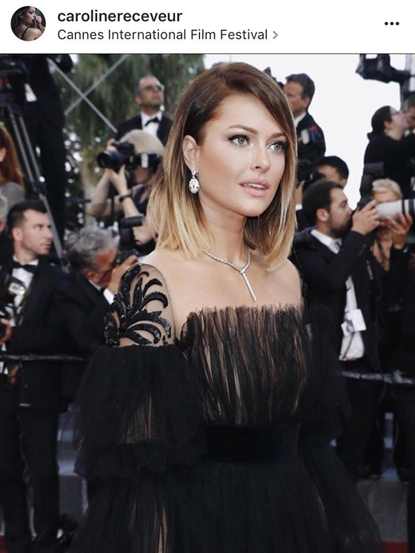 Bulgari Caroline Receveur wore Diamonds Serpenti necklace and earrings.