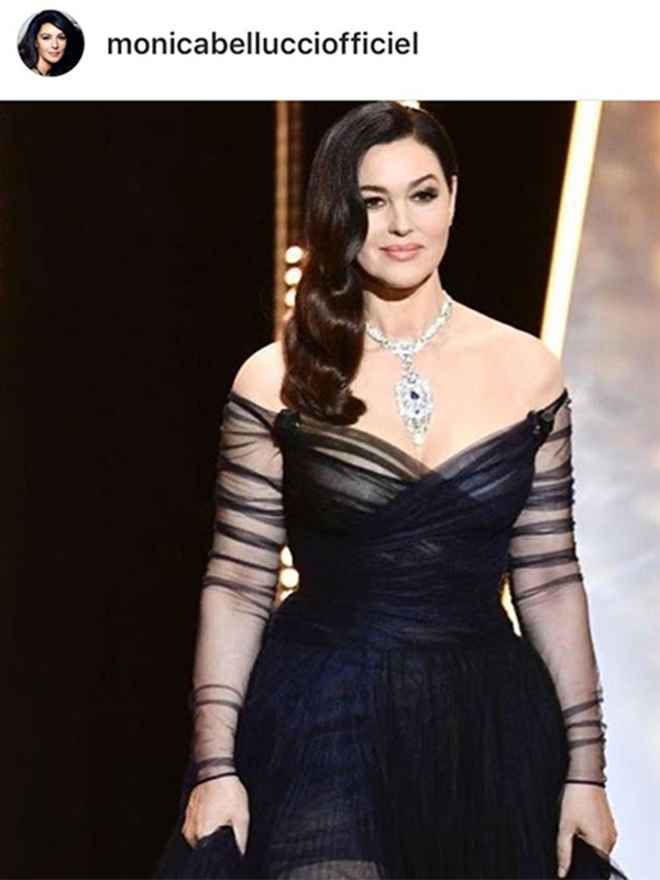 Cartier Monica Bellucci wore Cartier High Jewelry Necklace mounted on platinum with sapphires and diamonds, Galanterie de Cartier earrings mounted on white gold with diamonds and High Jewelry ring with one sapphire (13 ct.)