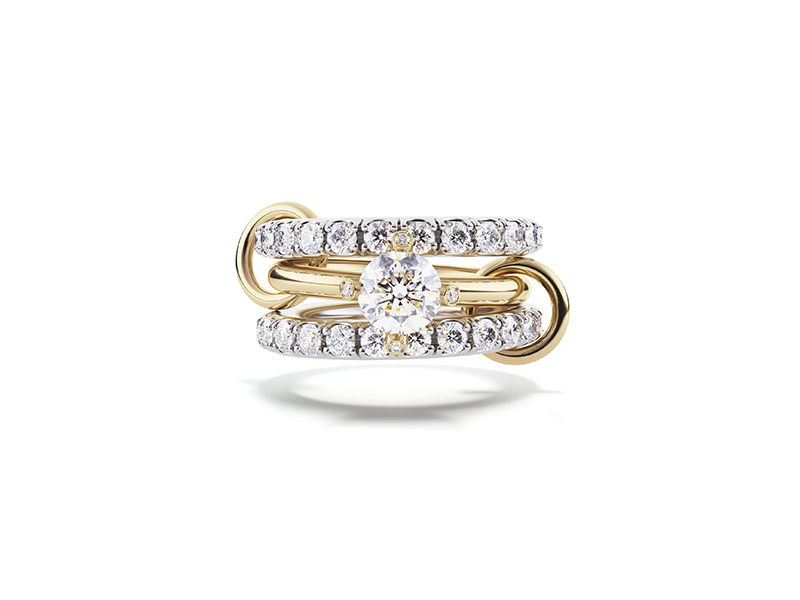 Spinelli Kilcollin Amor wedding rind mounted white and yellow gold with diamonds