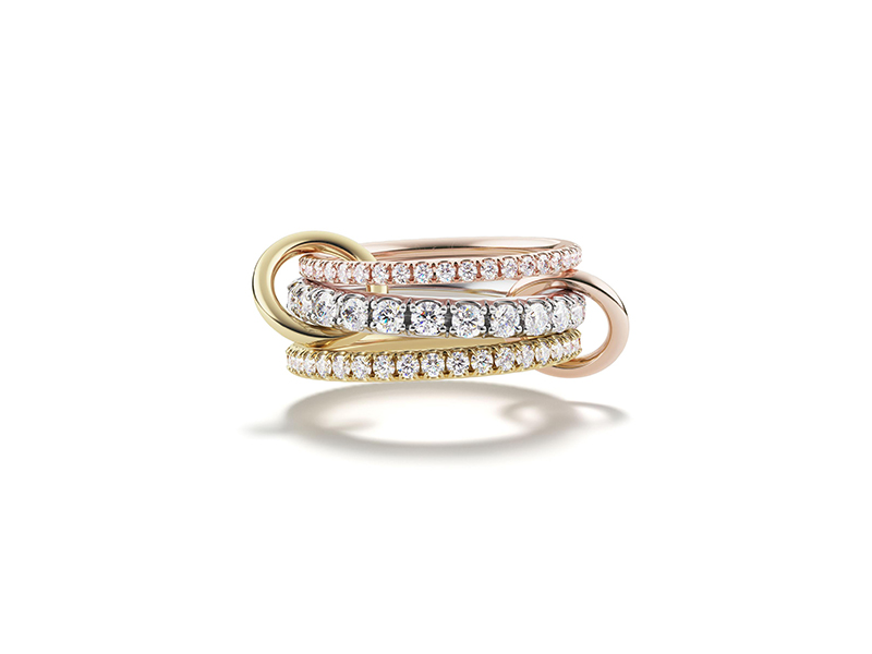 Spinelli Kilcollin Junia wedding ring mounted on rose, white and yellow gold with diamonds