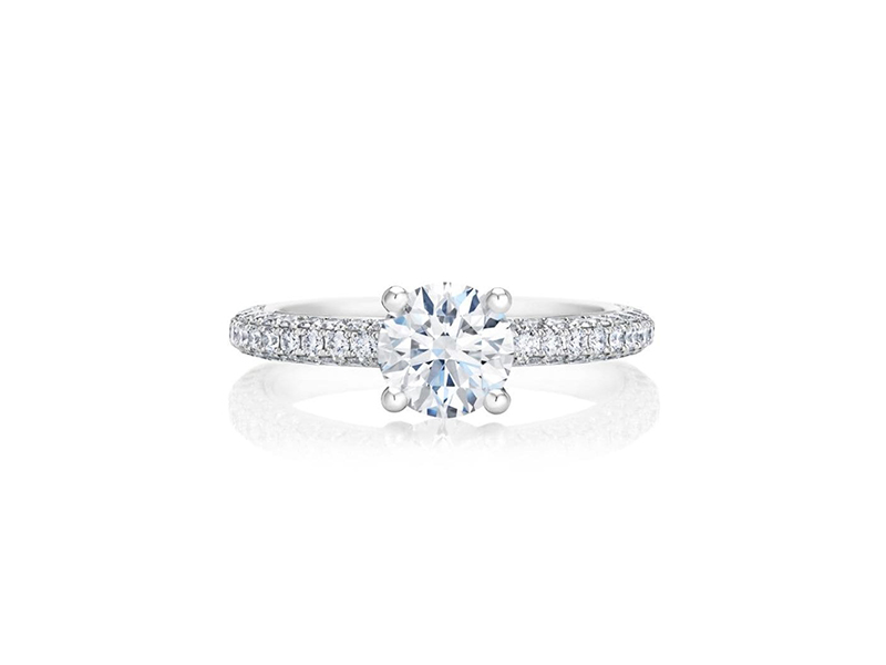 De Beers Solitaire engagement ring mounted on platinum