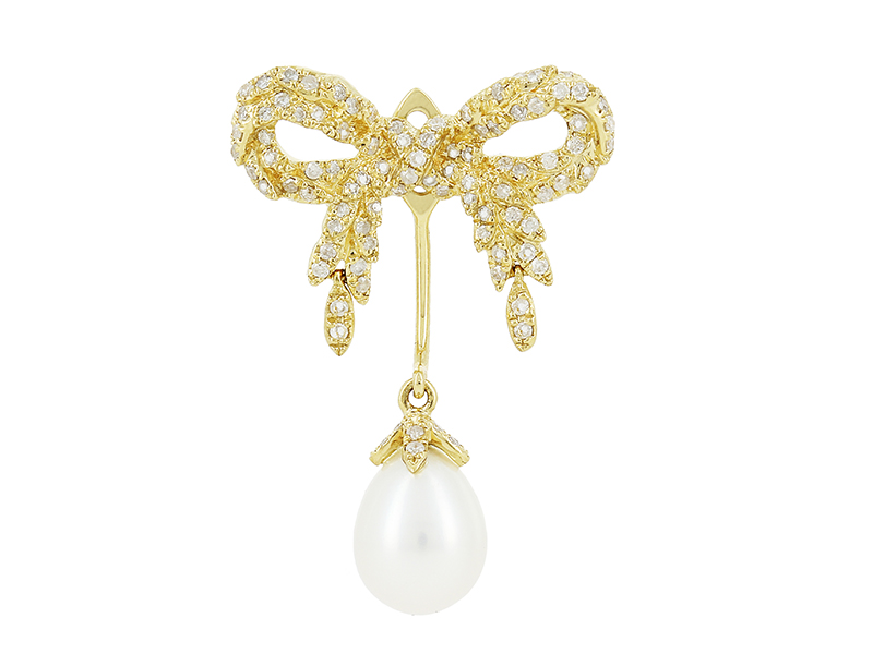 Yvonne Léon Pearl Bow mounted on yellow gold