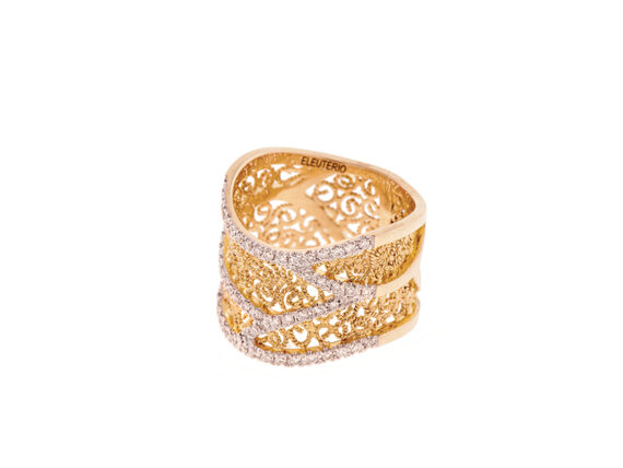 Eleuterio Heritage ring mounted on yellow gold with 57 diamonds