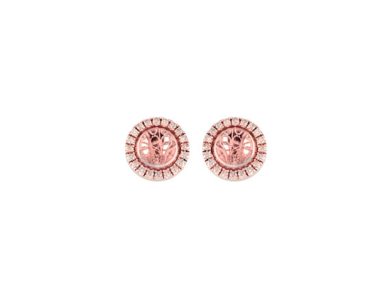 Eleuterio Deco Filigree earrings mounted on rose gold with 40 diamonds and crystal cabochon