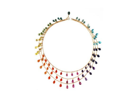 Marie Hélène de Taillac Multicolored necklace with briolette cut sapphires