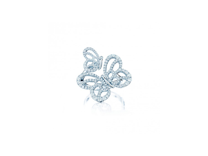Birks  Butterfly Shaped Diamond ring mounted on white gold with diamonds - 4295 $