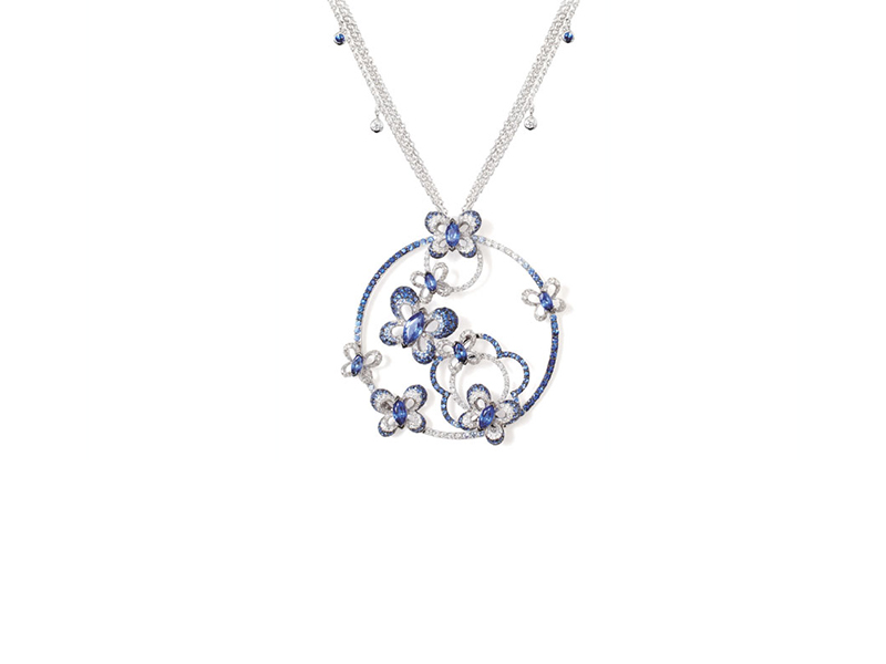 Bizzotto   Farfalle Necklace mounted on white gold with white diamond and blue sapphire