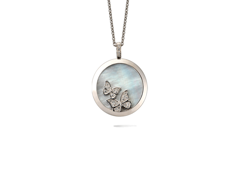 Carrera y Carrera  Baile De Mariposas Necklace mounted on white gold with mother-of-pearl and diamonds