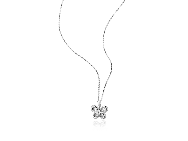 Chopard Happy Diamond Butterfly Necklace mounted on white gold with diamond