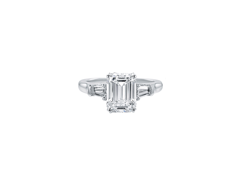 Harry Winston Classic Winston Emerald Cut Diamond Engagement Ring