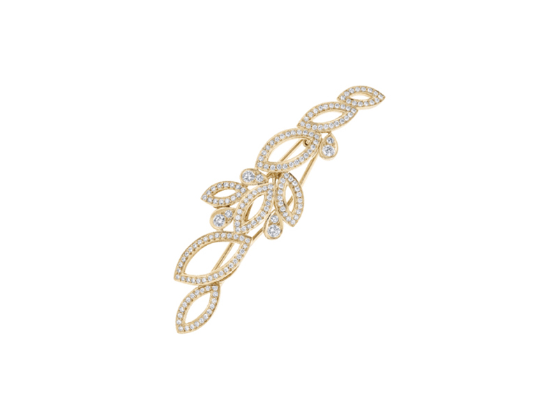 Harry Winston Lily cluster diamond barrette in yellow gold