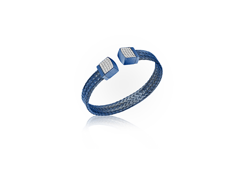 Jason of Beverly Hills The Blue Sapphire Mesh Bracelet with white diamonds