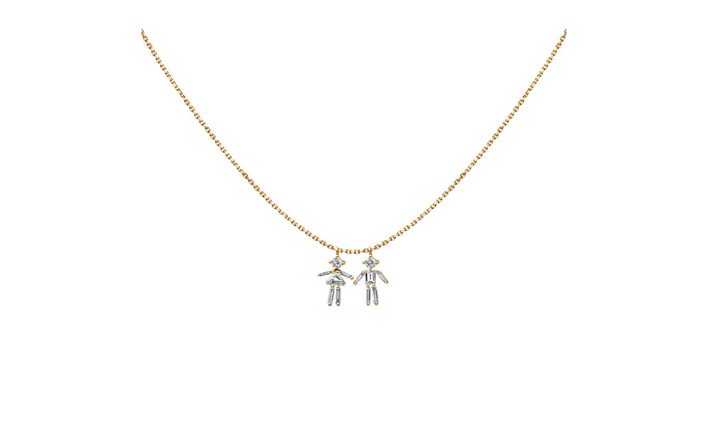 Little ones girl and boy double pendant necklace diamonds and 18 carats gold girl and boy double pendant necklace aloadofball Image collections