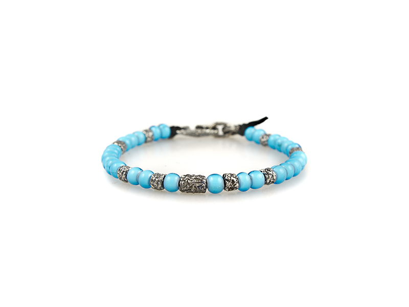 M. Cohen From beach bym collection mix african glass carved silver detail bracelet 175 dollars