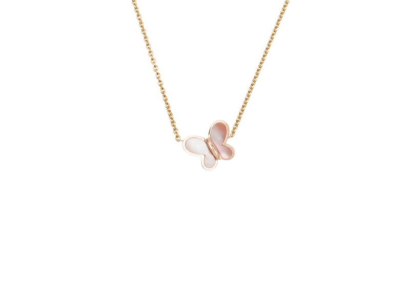 Morgane Bello Baby Boum necklace mounted on yellow gold with pink mother-of-pearl