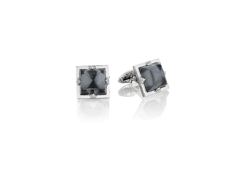 Penny Preville Rock Crystal & Hermatite Doublet Diamond Cufflinks