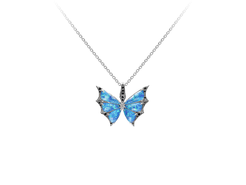 Stephen Webster  Crystal Haze Butterfly Pendant mounted on white gold with black diamonds and opal