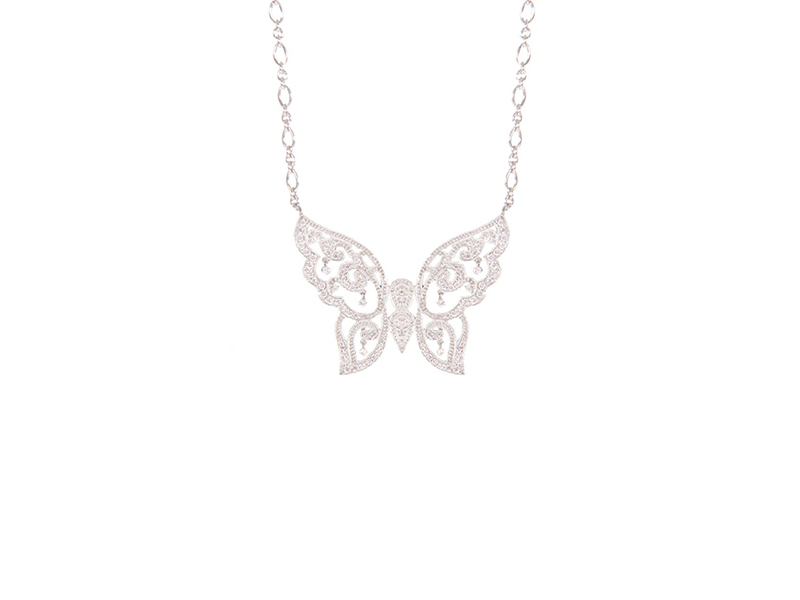 Stone Paris Baiser de Papillon necklace mounted on white gold with diamonds, 3890 €