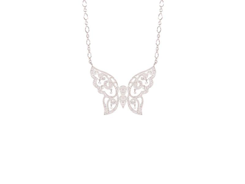 Stone Paris Baiser de Papillon necklace mounted on white gold with diamonds, 3890€