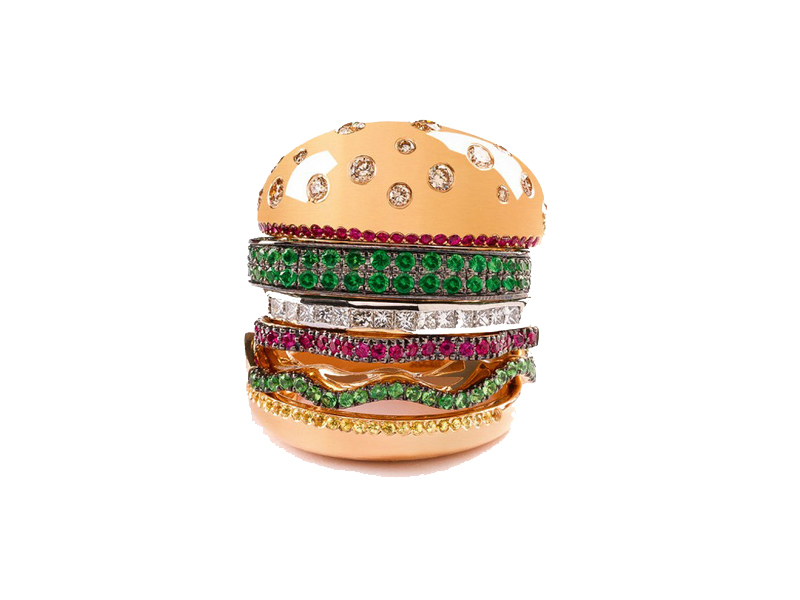 Nadine Ghosn Burger Ring gold diamonds