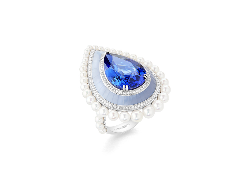 Boucheron Dìme Graphique tanzanite ring from Hiver Impérial collection