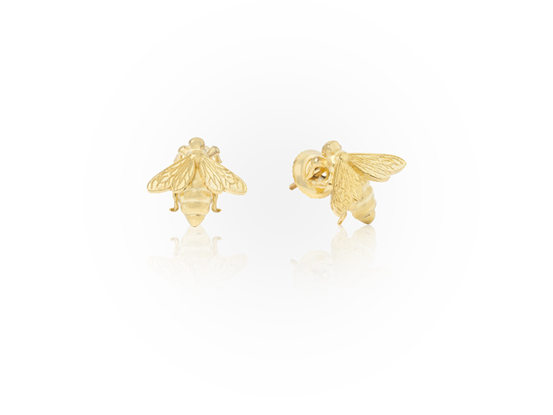 Jason of Beverly Hills The Honeycomb Bee Stud Earrings mounted on yellow gold