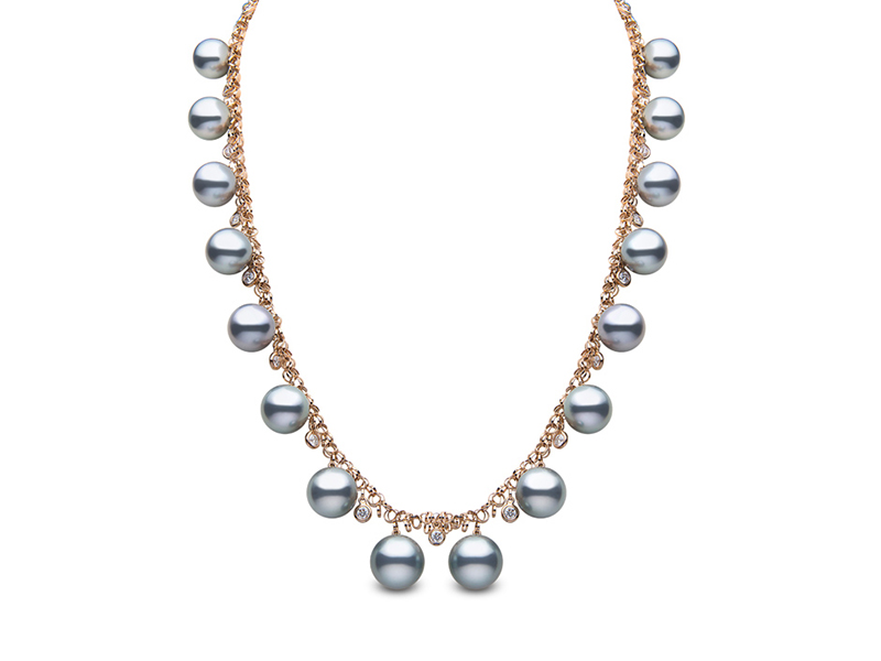Yoko London Bluerose necklace mounted on rose gold with diamonds and tahitian pearls