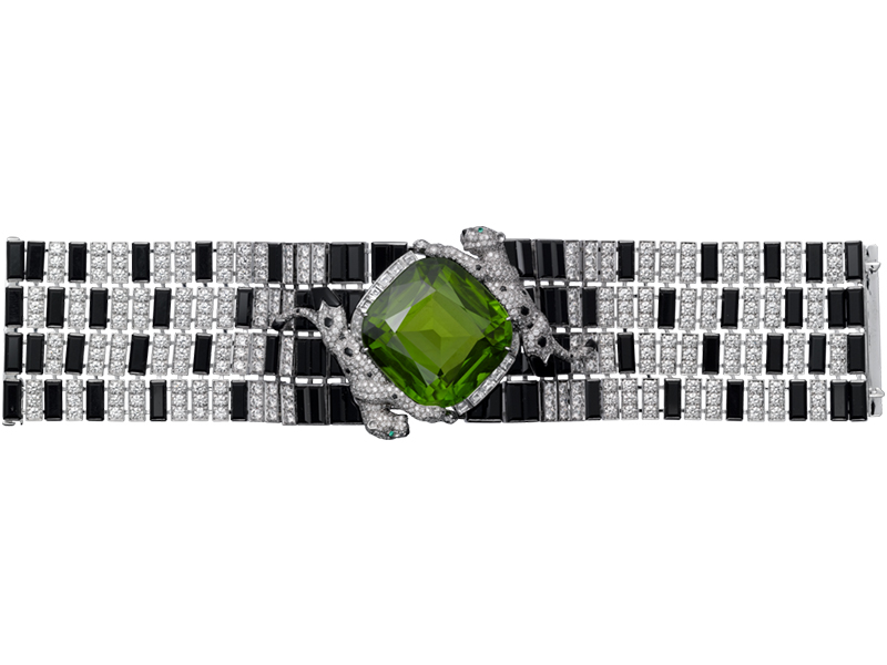 Cartier Panthère de Cartier High Jewelry bracelet mounted on white gold with peridot, onyx, emeralds and diamonds