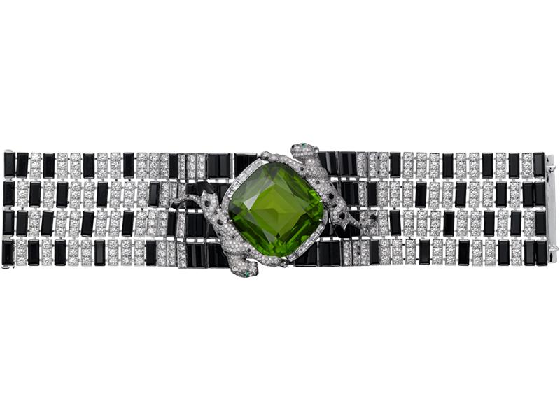Cartier - Panthère de Cartier Bracelet Haute Joaillerie monté sur or gris avec péridot, onyx, émeraudes et diamants
