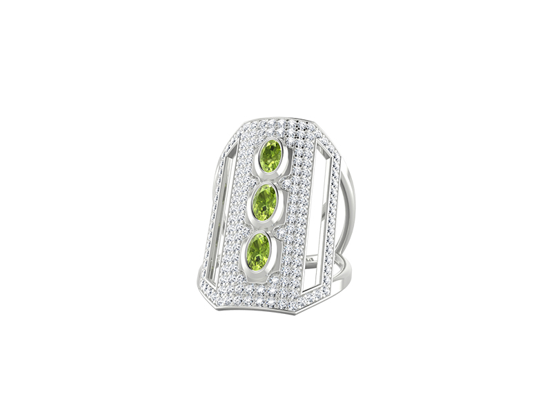 Edendiam Ornement ring mounted on white gold with peridot
