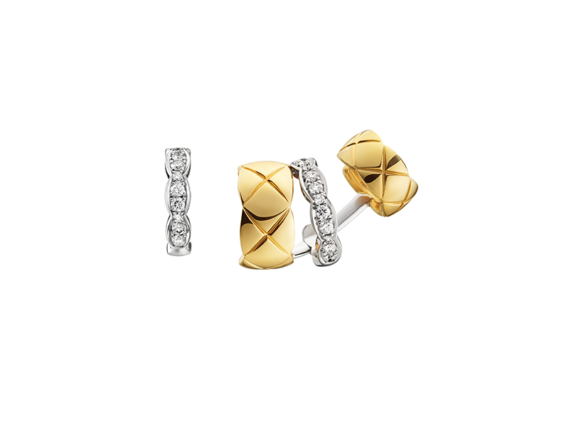 Chanel Coco Crush Asymmetrical earrings in white and yellow gold with diamonds