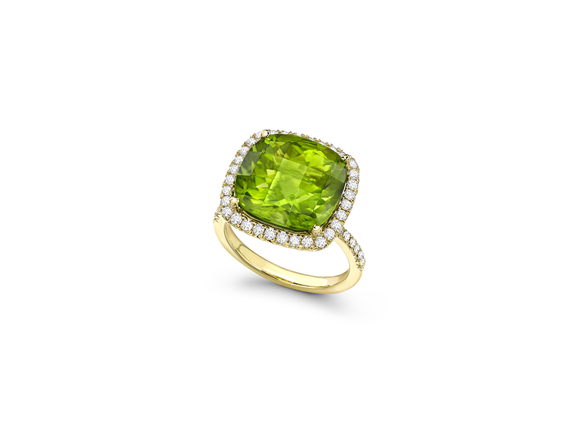 Kiki McDonough Cushion cut peridot and diamond cocktail ring mounted on yellow gold
