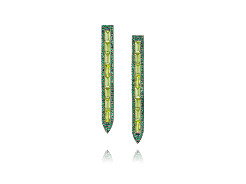 Ralph Masri Sacred windows earrings mounted on 18ct black rhodium-plated gold with emeralds and peridots