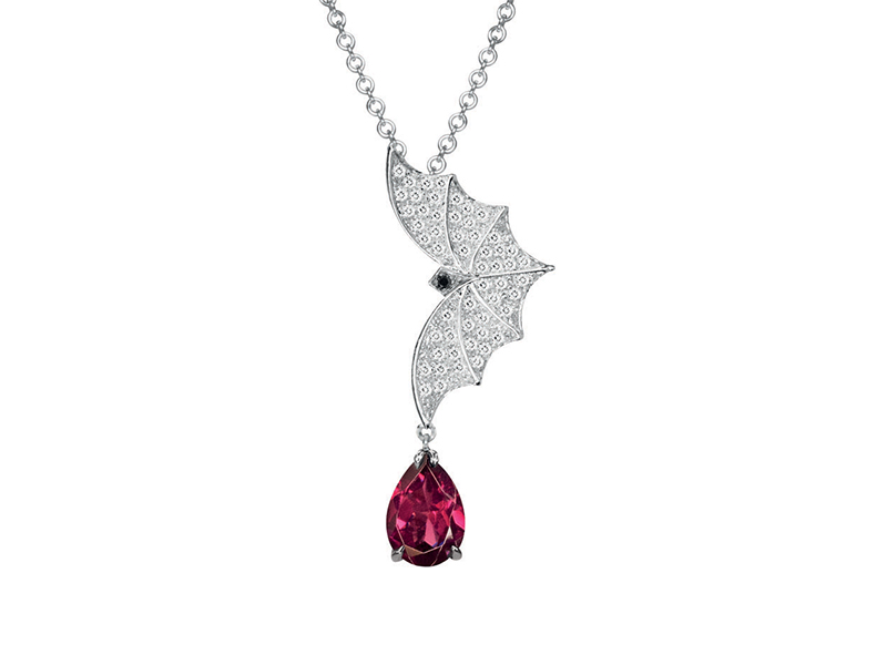 Van Der Bauwede  Twilight Pendant mounted on white gold with diamonds and a drop rubellite