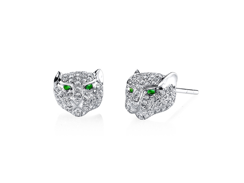 Anita Ko Diamond panther stud earrings mounted on white gold with diamonds and green tsavorites - 4625 €
