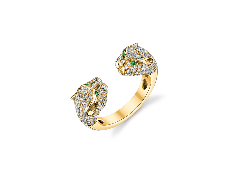 Anita Ko Double headed panther ring mounted on 18k gold with green tsavorite eyes & diamonds - 7575 $