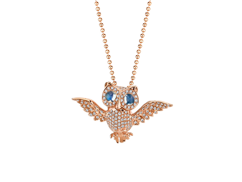 Anita Ko Diamond and moonstone owl necklace mounted on rose gold - 5'250 $