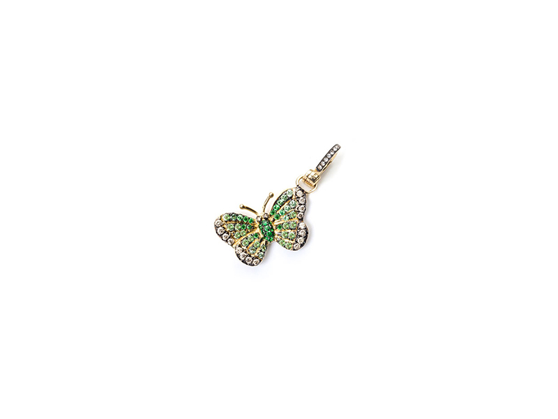 Annoushka Mythology Monsoon Butterfly Amulet mounted on yellow gold with diamond and green garnet, 2300 €