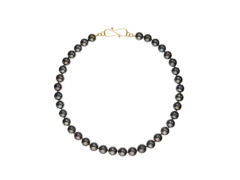 Belmacz Miles necklace black tahitian cultured pearls mounted on yellow gold