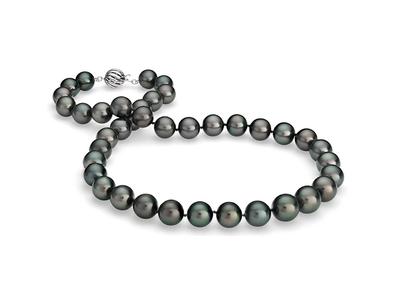 Blue Nile Multi-color tahitian cultured pearl necklace mounted on white gold - 2'390 $