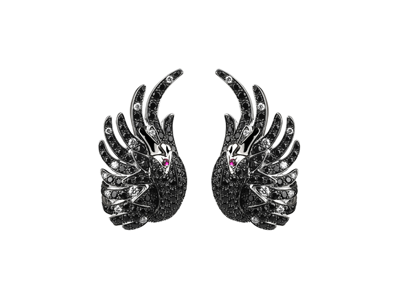 Boucheron Cypris, the swan stud earrings with 290 round black sapphire, 22 round diamonds& 4 round rubies
