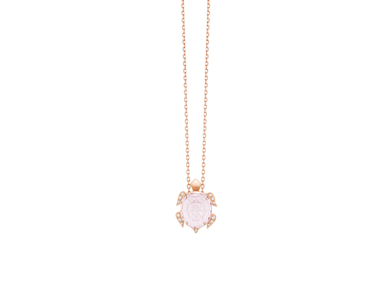 "Boucheron ""Honu"" the turtle pendant mounted on rose gold with pink quartz and diamonds"