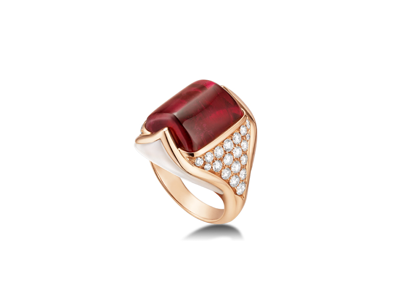 Bvlgari Mvsa ring mounted on rose gold with tourmaline,mother of pearl and pave diamonds - 42600 $