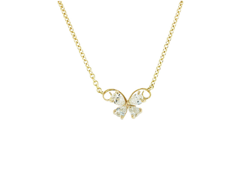 Caratell Butterfly pendant mounted on yellow gold with pear shape diamonds, 800 $